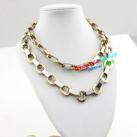 Cool Style Silver & Gold Chain Design of Stainless Steel Mens Bracelet Set