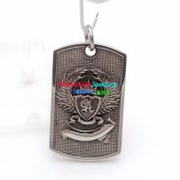 Retro Style Silver Complicated Badge Silver Stripe Background wholesale Stainless Steel Pendant