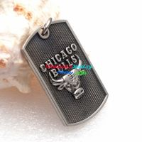 Hot Sell Black Rectangle Stainless Steel Pendant with Bull Pattern for Fashion Guys