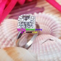 Charming Angel of Shining Crystal Rhombus Shape of Silver Stainless Steel Fashionable Rings