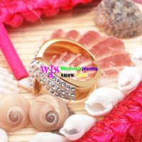 Attractive Princess Of Golden & Silver White Crystal Design of Stainless Steel Rings Charms