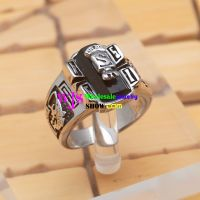 Cool Style of Silver & Black Popular Banner Design 316L casting Stainless Steel Fashionable Rings