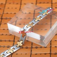 Gold cross H link stainless steel bracelet is becoming popular and is very charming
