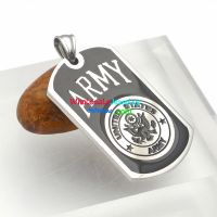 "English Letters with Pattern of ""ARMY"" Black & Silver Design of Stainless Steel Men Pendant dog tag"