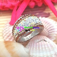 colorful ring stainless steel with many gravels especially nice for women