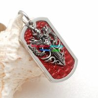 stainless steel with two dragons key shape pendant red base dog tag