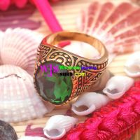 vintage men wedding ring with a prominent green gem stainless steel stone ring