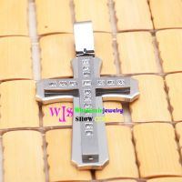 stainless steel cross pendant with shining stones especially for men