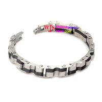 black streak personalized stainless steel bracelet for men