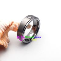 two layers silver tungsten ring with diamond