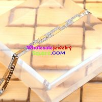 stainless steel gold and silver two tone tiny chain setting together necklace