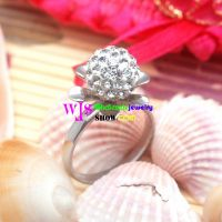 Flower shape silver azure stone female ring for wedding
