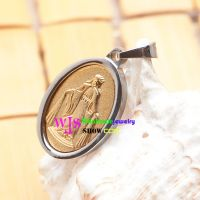 Oval Silver Edge and Golden Virgin of Mary status Pendant for Men and Women