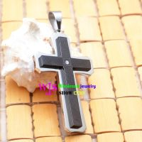 two layers of chain cross pendant in white and black stainless steel