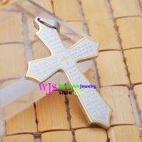 Christian stainless steel cross pendant with gold edge
