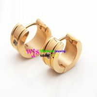 Stainless Steel Love earring with stone gold plated stone earring