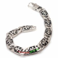 Silver and Black Sword Pattern with Particular Lock Design of Stainless Steel Bracelet