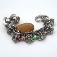 Cowboy Style of Cool Man With Hat Design of Stainless Steel Bracelet for man 316L