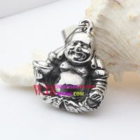 Stainless steel smiling Buddha praying for your happiness lovely metal pendant