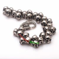 Exaggerated and Cool Style of Silver Skull Family Mens 316L Stainless Steel Bracelet