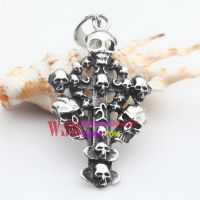 316l Stainless steel casting crossing and human skeleton horrible unique manly pendant