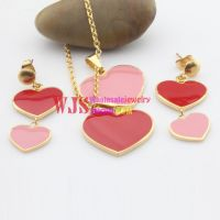 Heart linked to heart fashionable bridesmaid jewelry sets wholesale cute jewelry set