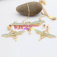 Creative dragonfly Shape of Necklace and Earrings Made of Stainless Steel
