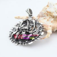 Stainless steel crossing bones chain with angry skeleton unique and wonderful pendant
