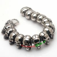 Unique Silver Mysterious Style of Skull Men Family Design 316L Stainless Steel Bracelet