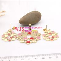 Bright and translucent in appearance of high-level flowers design of bridal jewelry sets cute pink jewelry