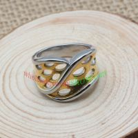 Special and Irregular Silver- yellow-colored Stainless Steel Ring with Many Crescent Stone Decorations