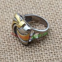 Silver and golden stripe ring made of stainless steel