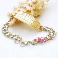 """New style of thin chain with """"Jesus"""" printed plaque in gold color"""