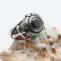 Black ring in special shape made of stainless steel