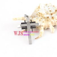 2014 China cheap cross men's stainless steel necklace pendant colorful antirust pendant 【Black】