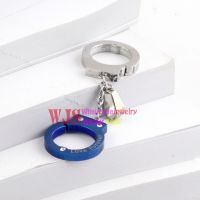 2014 China costume jewelry wholesale Handcuffs pattern colorful stainless steel necklace pendant 【Blue】