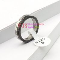 top selling black sliver color artificial gem stone ring anti-rust antiallergic couple stainless steel ring【Women】