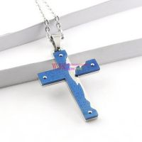 plating blue and silver cross with floating locket cracks on fashional for man and women