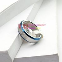 High quality blue white simple elegant ring stainless steel anti-rust ring cool fashion smooth couple ring【Man】