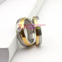 2014 high quality gold silver color artificial gem stone ring stainless steel 316L ring anti-corrosion fashion ring[Women]