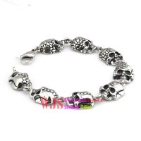 2014 Free shipping crack skull cool fashion bracelet link chain stainless steel bracelet anti-corrosion bracelet 316L
