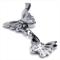 Kayier Jewelry Womens Stainless Steel Butterfly Pendant, Silver