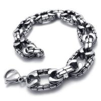 Jewelry Stainless Steel Men\'s Bracelet, Black Silver, 8.86 Inch