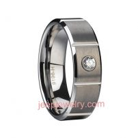 Tungsten ring inlaid with zircon /male and female tail ring