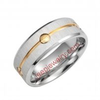 Men ring stainless steel silver with golden line in middle 8mm