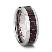 8MM RED AND BLACK TUNGSTEN CARBON FIBER WEDDING BAND