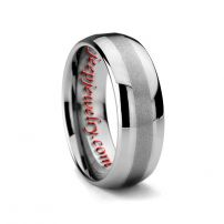 8MM BRUSHED MEN'S TUNGSTEN CARBIDE RING DOMED