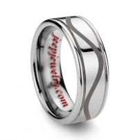 6MM OR 8MM GROOVED LASER ENGRAVED TUNGSTEN RING POLISHED