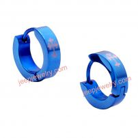 Stunning Blue Stainless Steel Mens Cross Hoop Earrings Jewelry