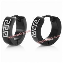 RnBJewellery Mens Stainless Steel Greek Symbol Black Hoop Earrings